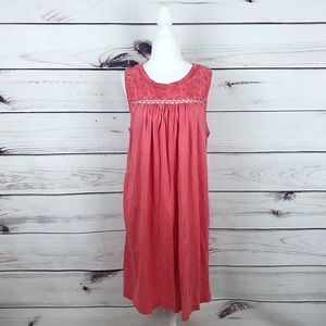 Lucky Brand Coral Embroidered Sleeveless Dress L